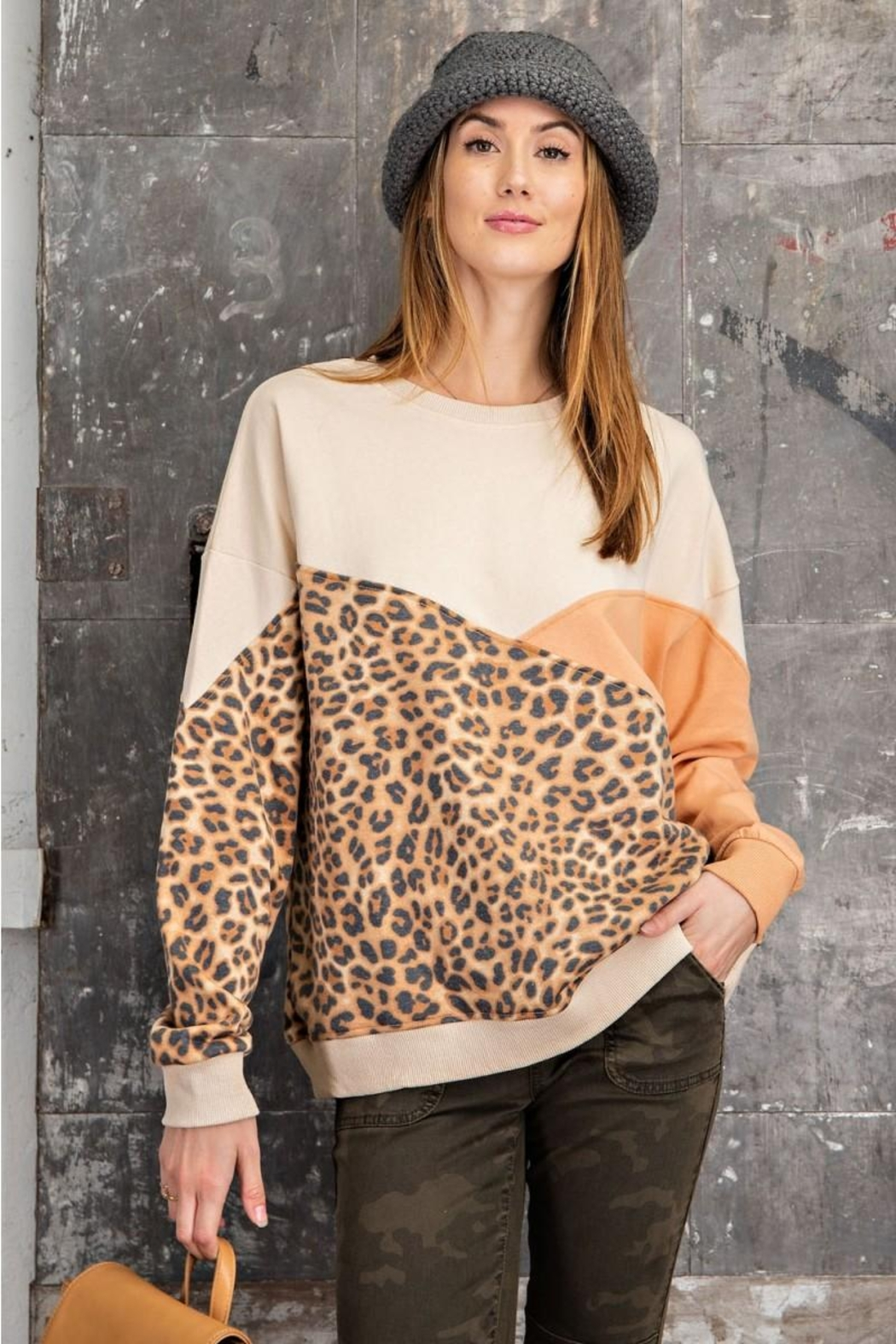 easel Leopard Mixed Color Block Long Sleeves French Terry Sweatshirt Pullover - Main Image