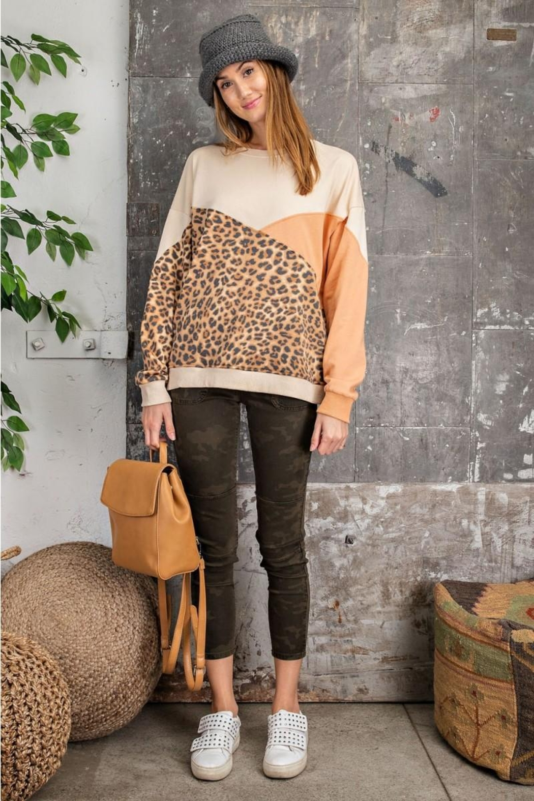 easel Leopard Mixed Color Block Long Sleeves French Terry Sweatshirt Pullover - Front Full Image
