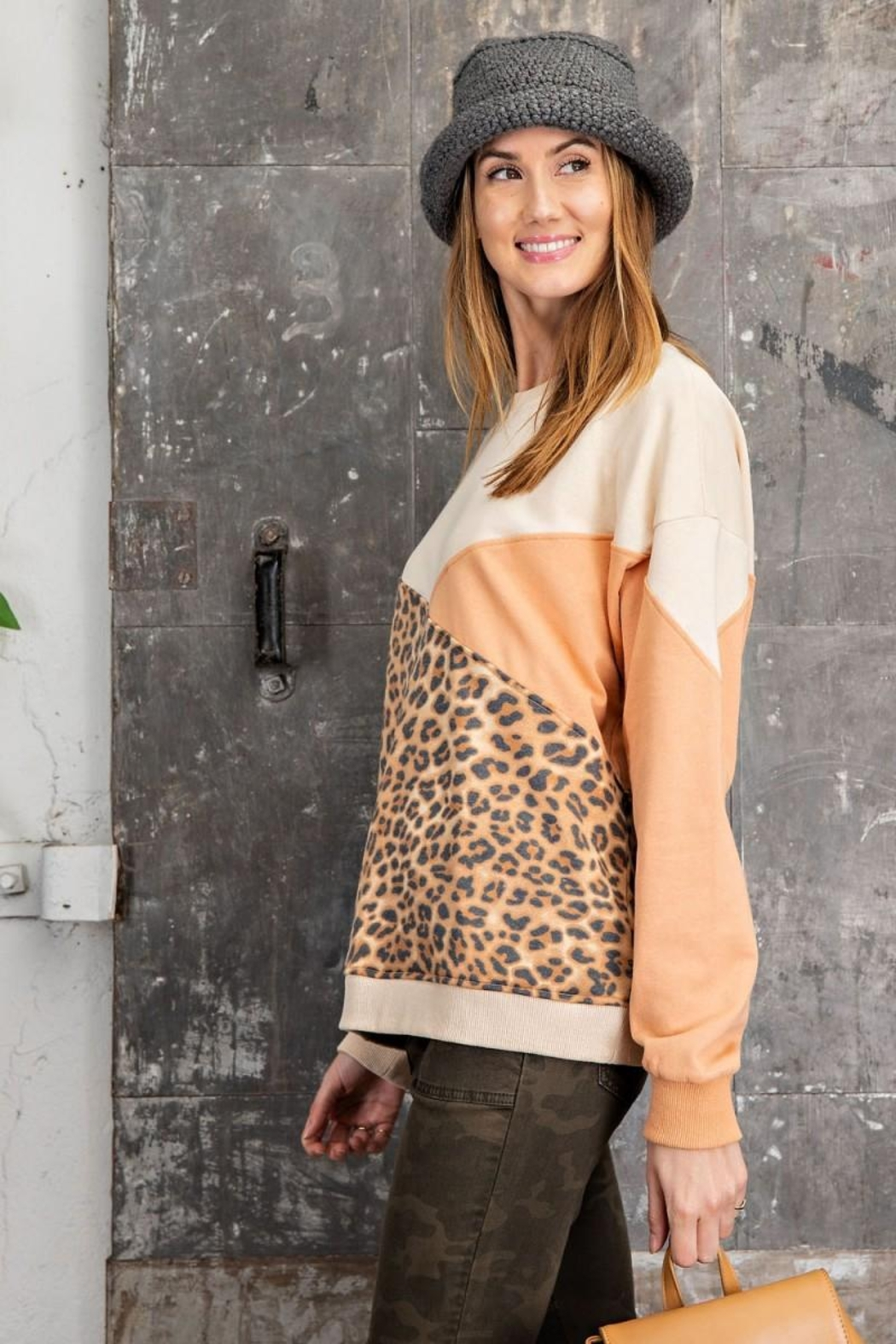 easel Leopard Mixed Color Block Long Sleeves French Terry Sweatshirt Pullover - Back Cropped Image