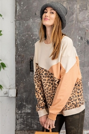 easel Leopard Mixed Color Block Long Sleeves French Terry Sweatshirt Pullover - Side cropped