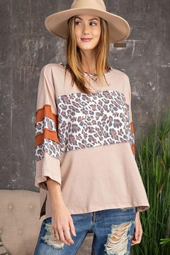 Shoptiques Product: Leopard Print Mix Cotton Knit Oversize Top