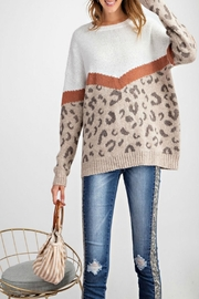easel Leopard-Print Pullover Sweater - Front cropped