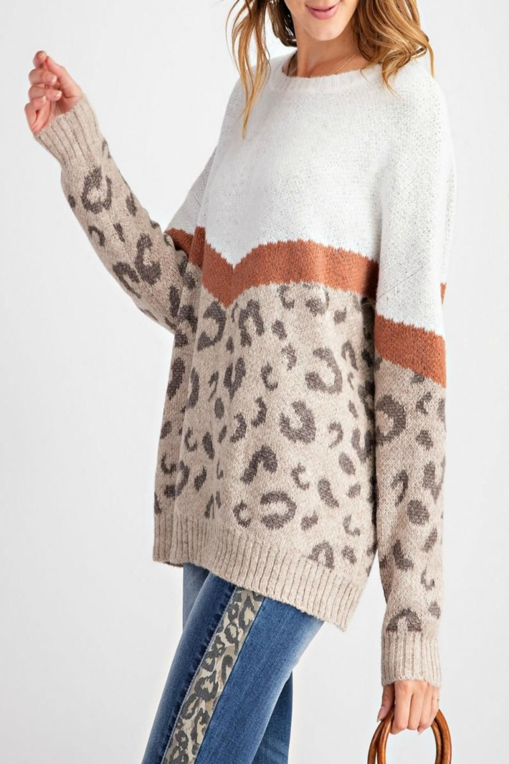 easel Leopard-Print Pullover Sweater - Back Cropped Image