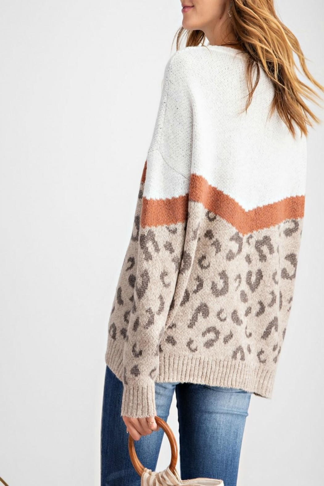 easel Leopard-Print Pullover Sweater - Front Full Image