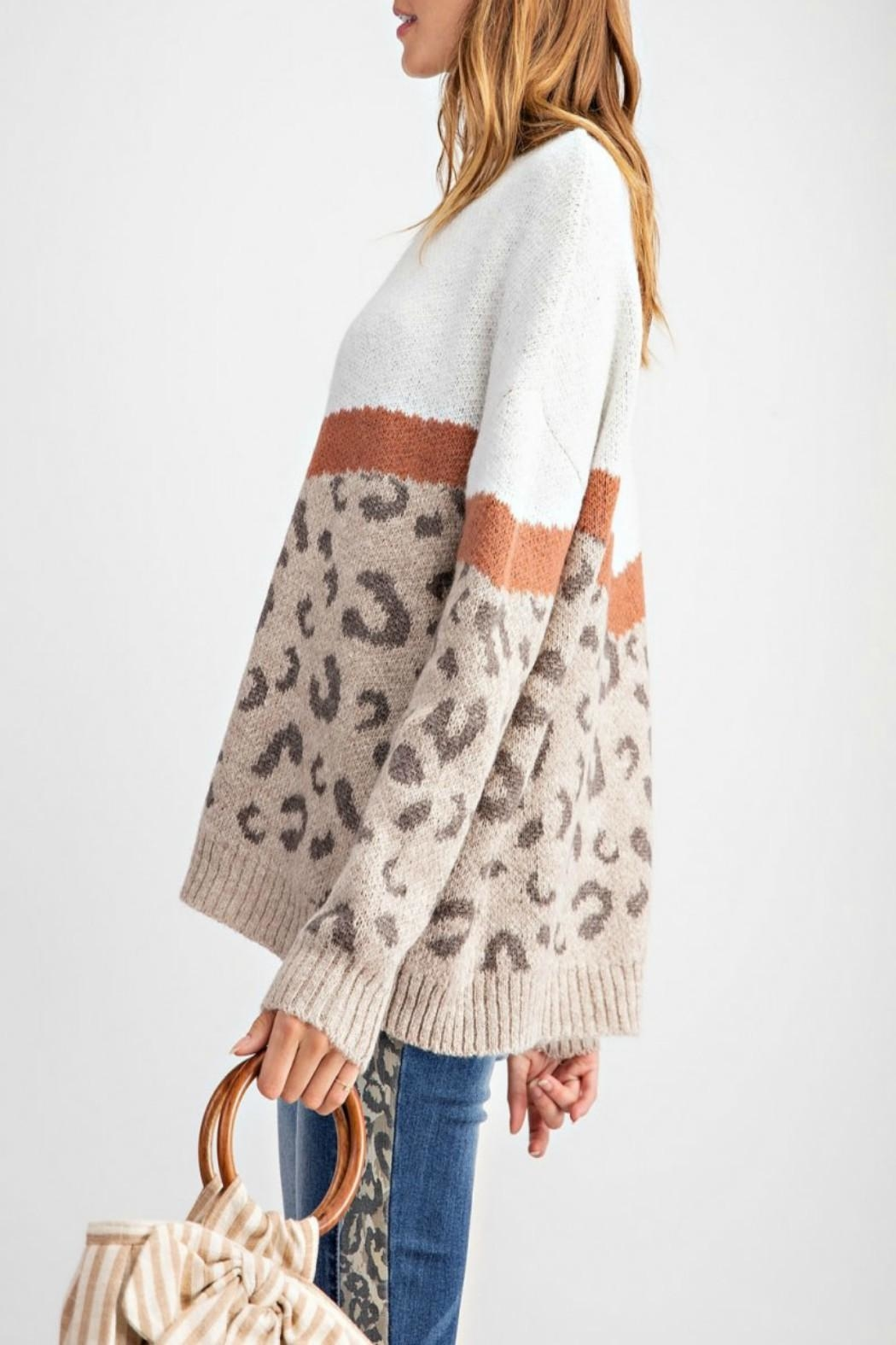 easel Leopard-Print Pullover Sweater - Side Cropped Image