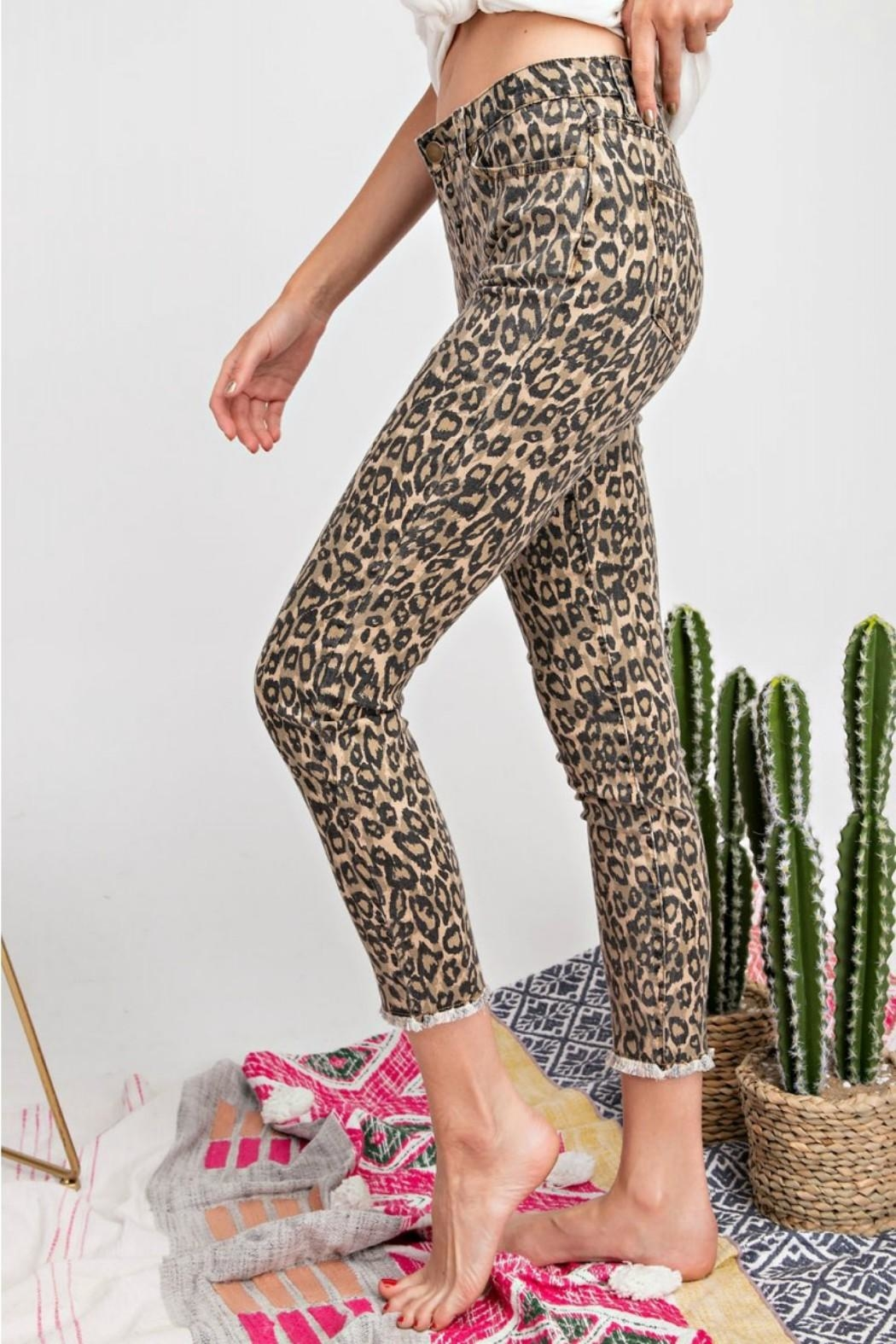 easel Leopard Stretch Pants - Side Cropped Image