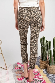 easel Leopard Stretch Pants - Front full body