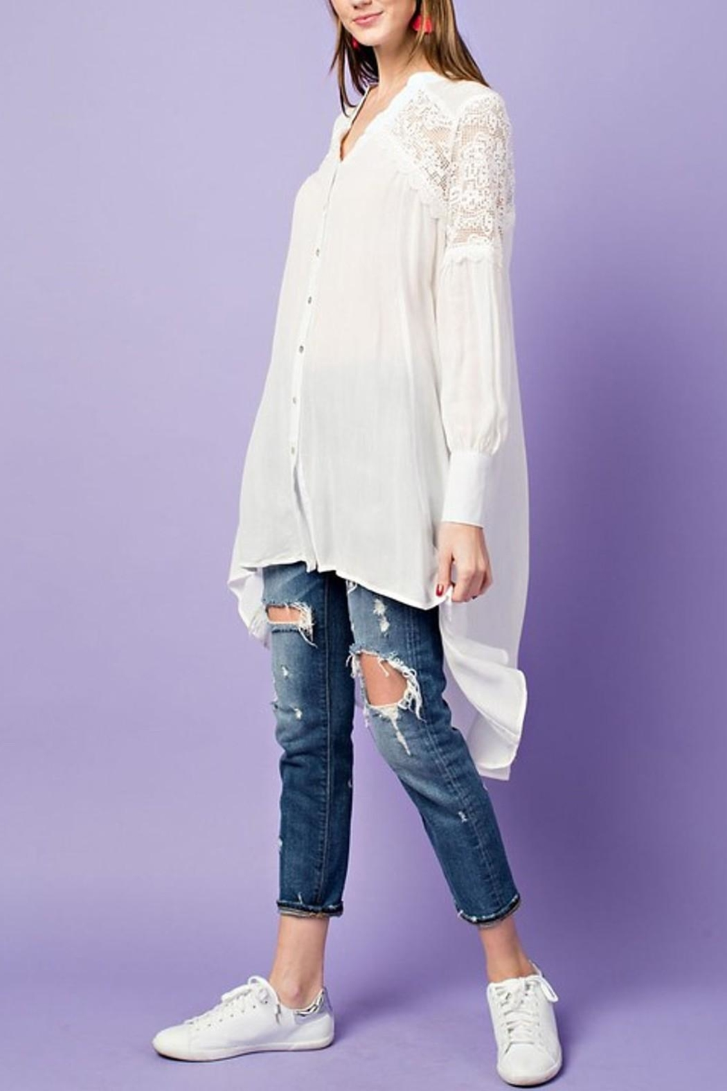 easel Lightweight Lace Tunic - Front Full Image