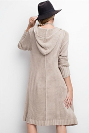 easel Long Hooded Cardigan - Front full body