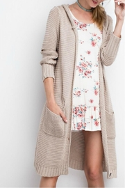 easel Long Hooded Cardigan - Front cropped