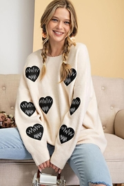 easel Love Heart Patch Work Detail Long Sleeve Sweater - Product Mini Image