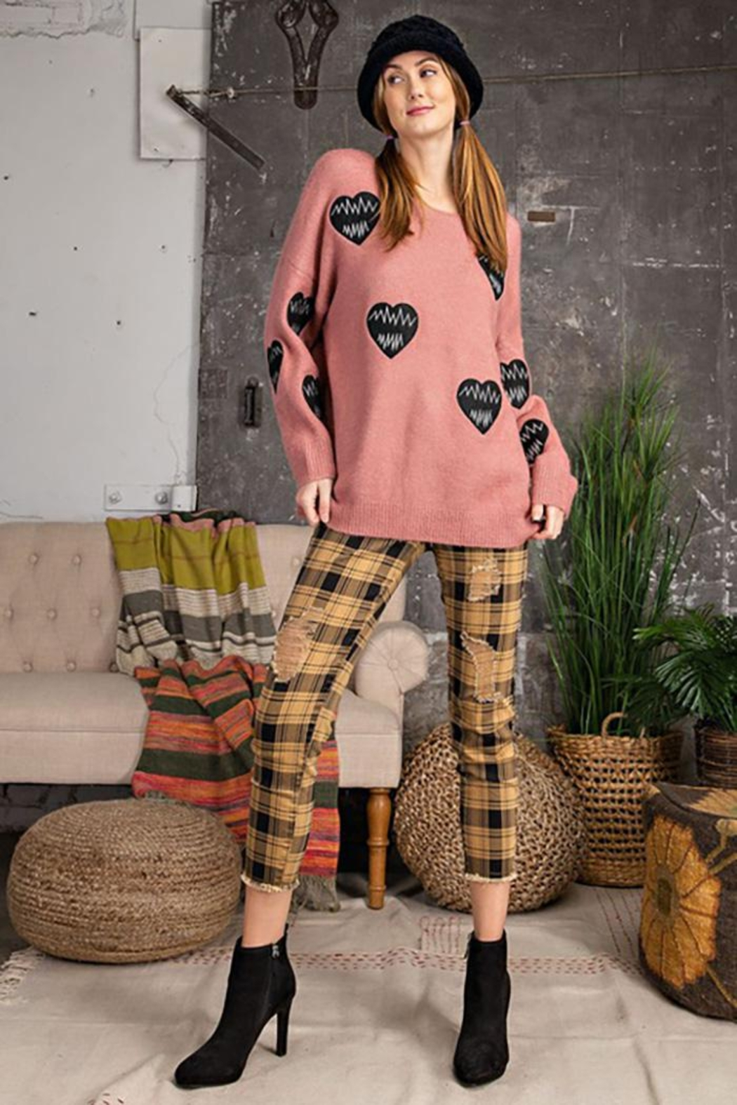 easel Love Heart Patch Work Detail Long Sleeve Sweater - Back Cropped Image