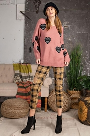 easel Love Heart Patch Work Detail Long Sleeve Sweater - Back cropped