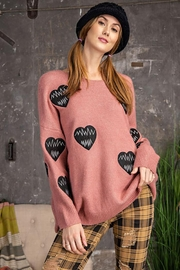 easel Love Heart Patch Work Detail Long Sleeve Sweater - Front cropped