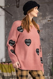 easel Love Heart Patch Work Detail Long Sleeve Sweater - Other