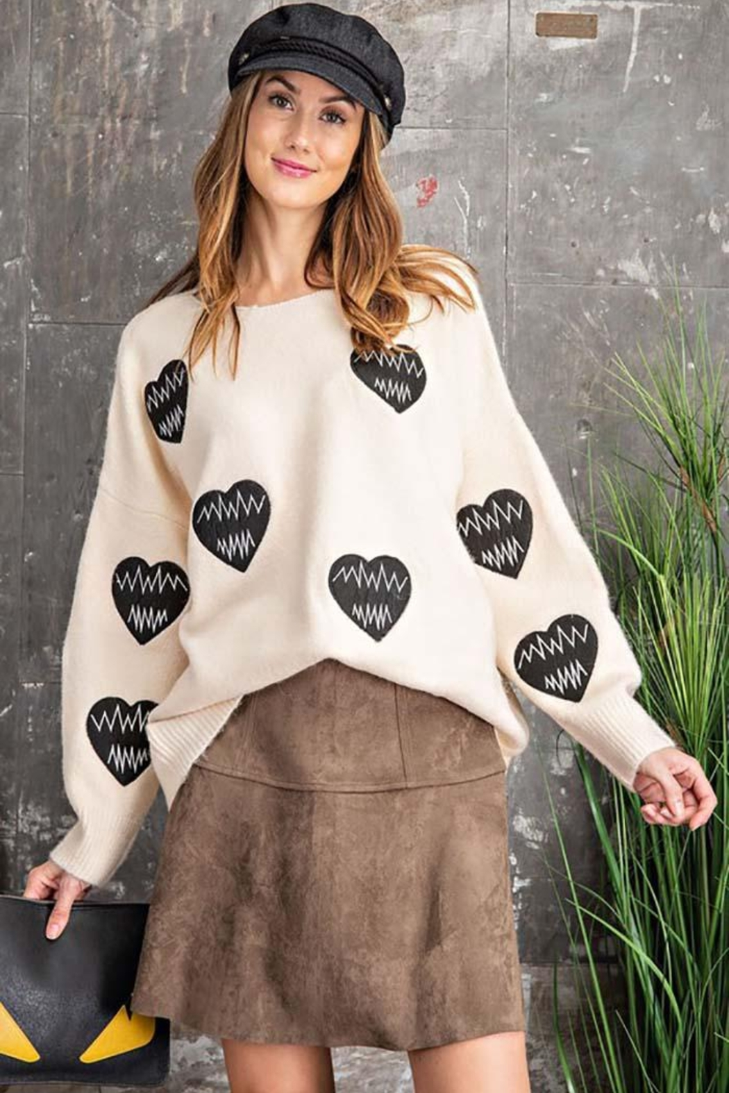 easel Love Heart Patch Work Detail Long Sleeve Sweater - Main Image