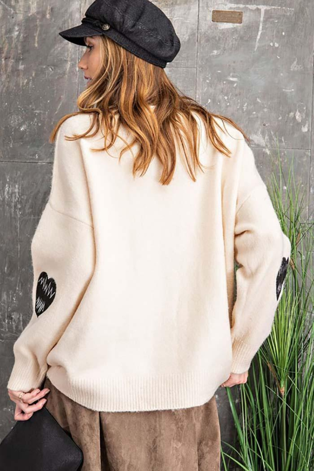 easel Love Heart Patch Work Detail Long Sleeve Sweater - Front Full Image