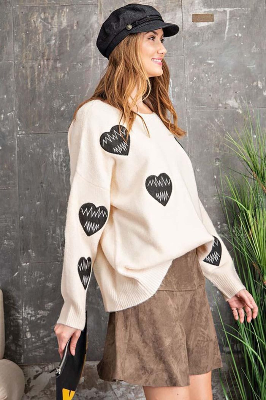 easel Love Heart Patch Work Detail Long Sleeve Sweater - Side Cropped Image