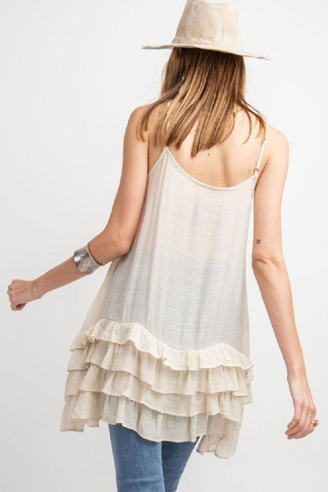 easel Lowly Silky Cami - Back Cropped Image