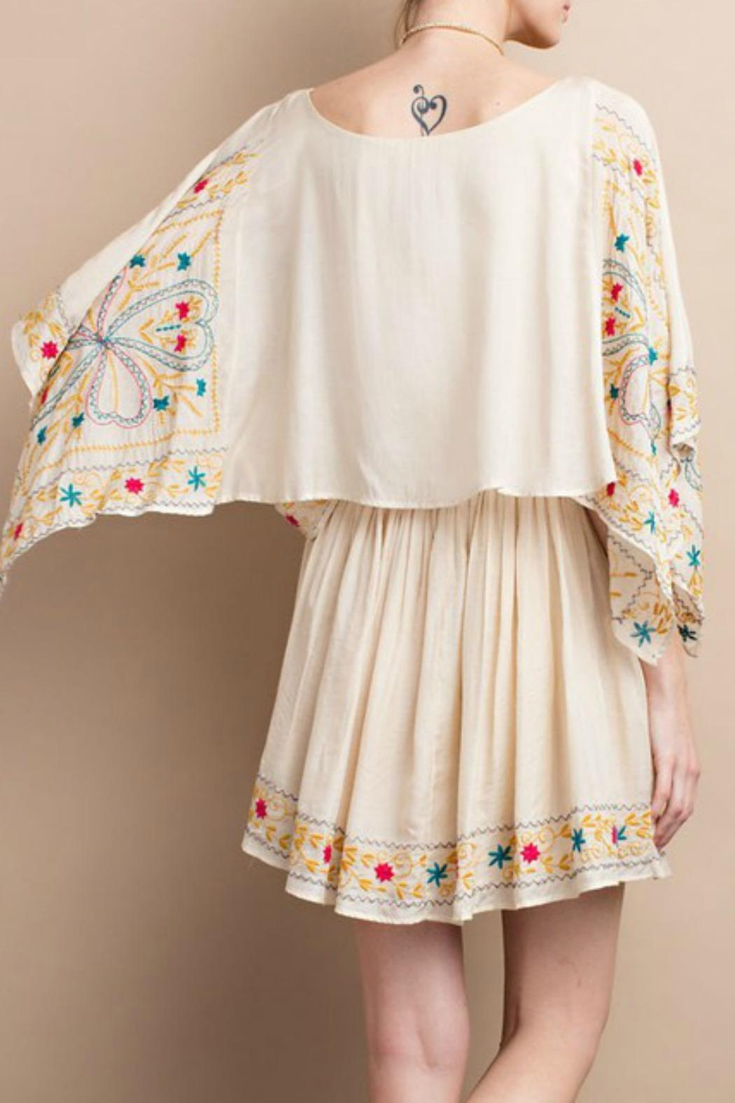 easel Maria Embroidered Dress - Back Cropped Image