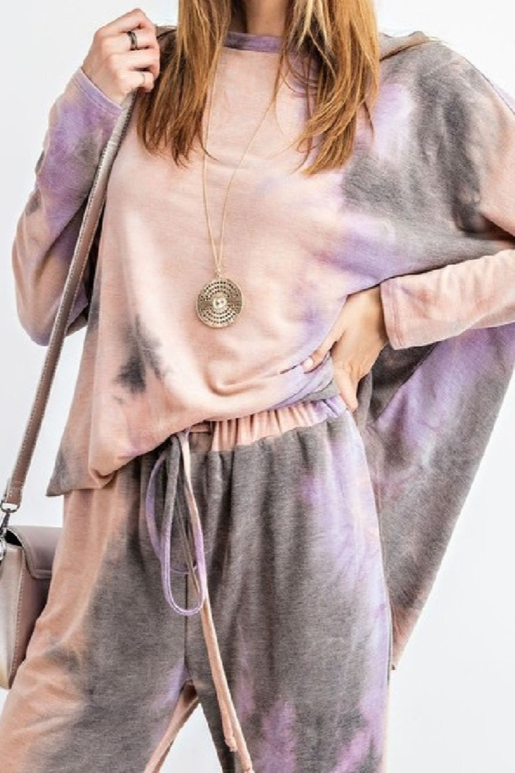 Easel  Mauve Tie Dye lounge top - long sleeved - oversized - Front Cropped Image