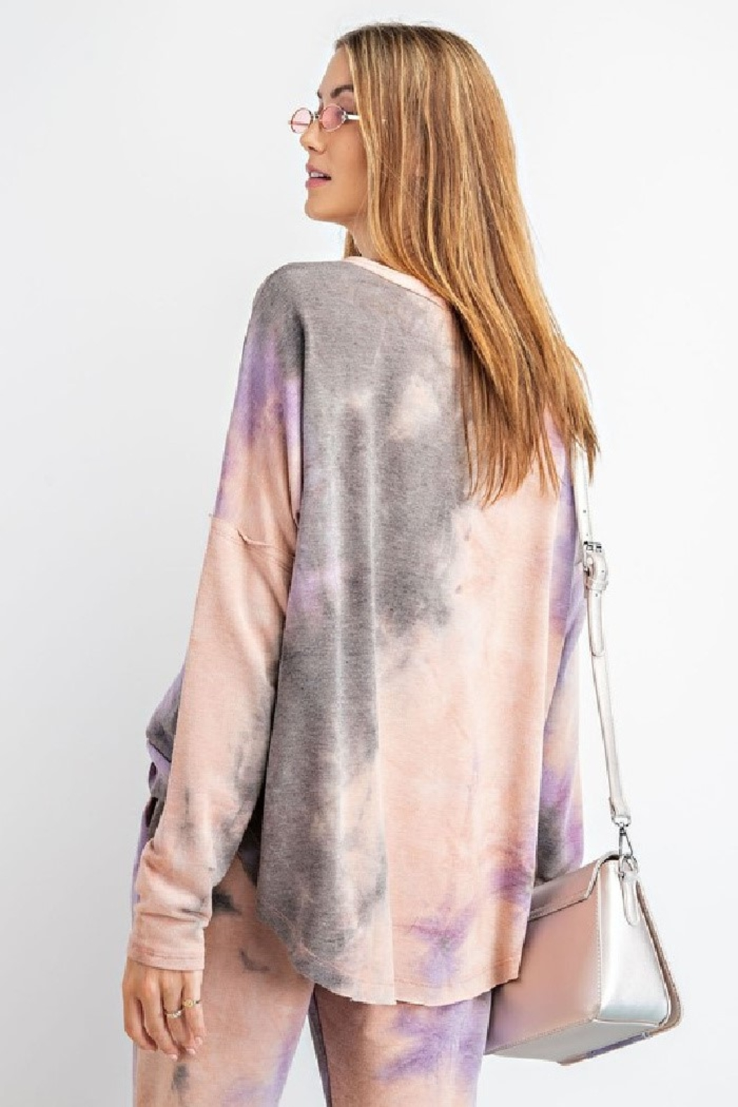 Easel  Mauve Tie Dye lounge top - long sleeved - oversized - Main Image