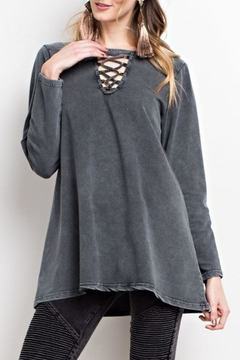 Shoptiques Product: Mineral-Washed Keyhole Top