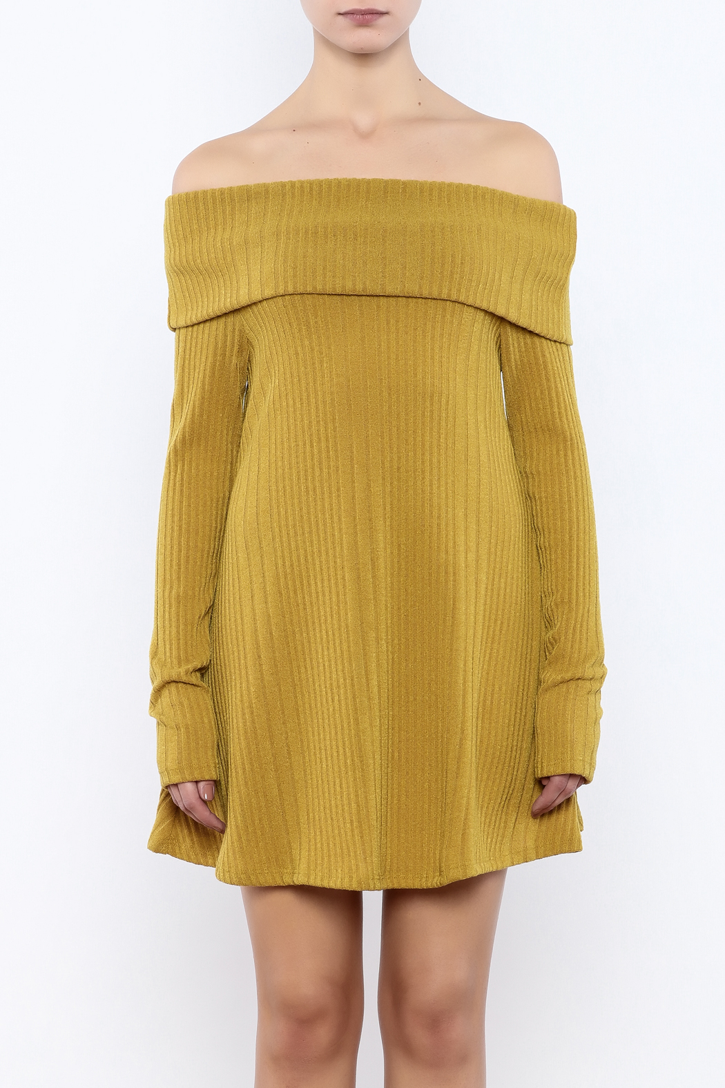 easel Mustard Sweater Dress - Side Cropped Image