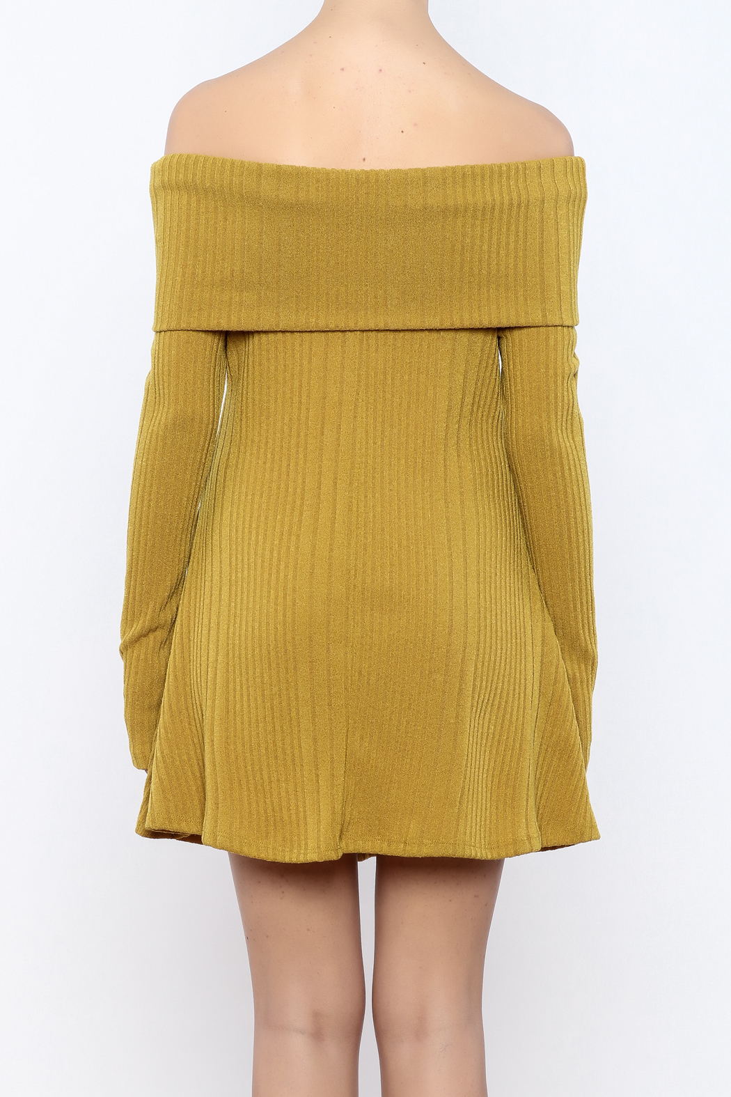 easel Mustard Sweater Dress - Back Cropped Image