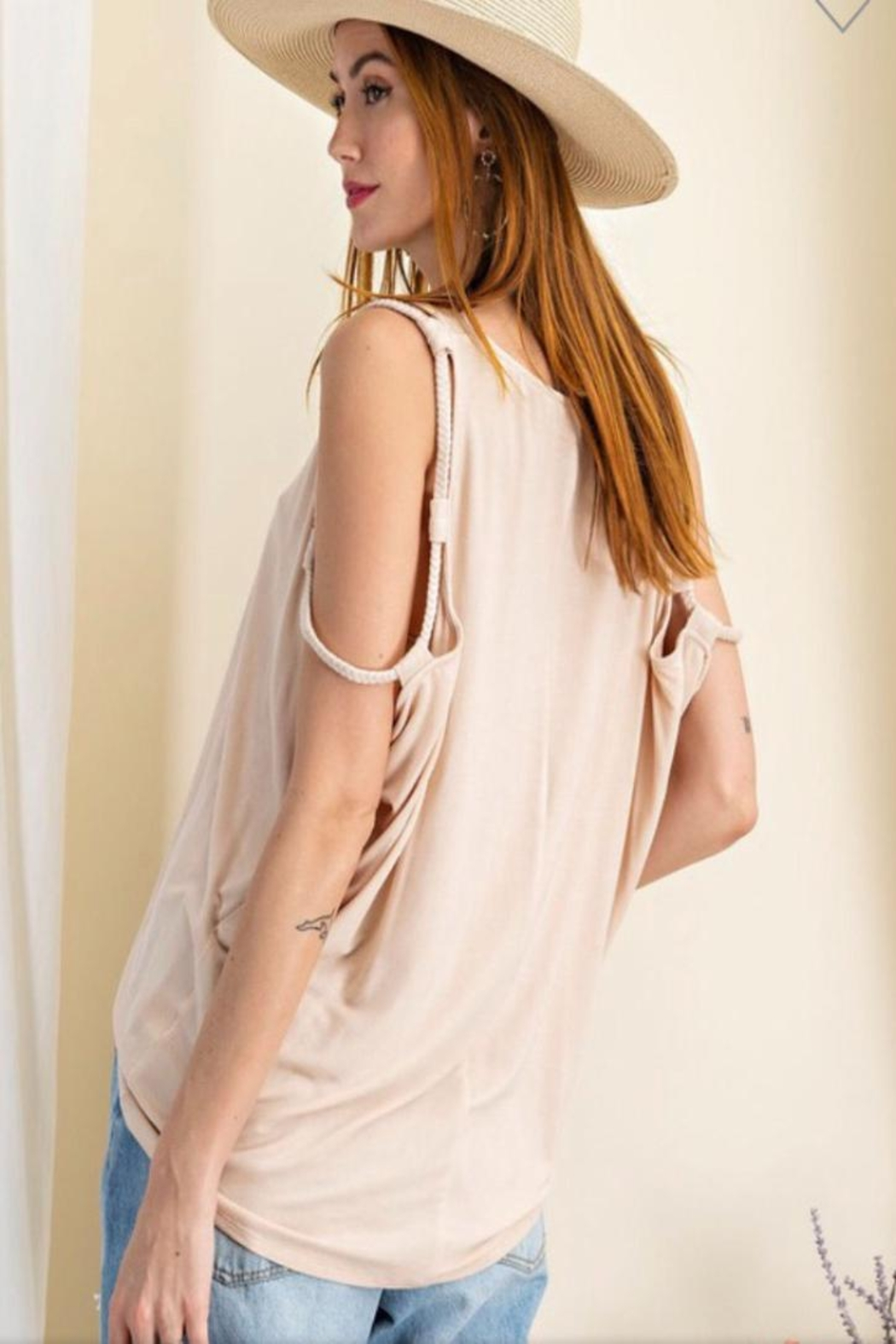 easel Natural Braided Tank - Front Full Image