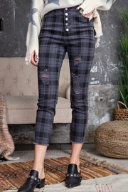 easel Navy Plaid Pants - Front cropped