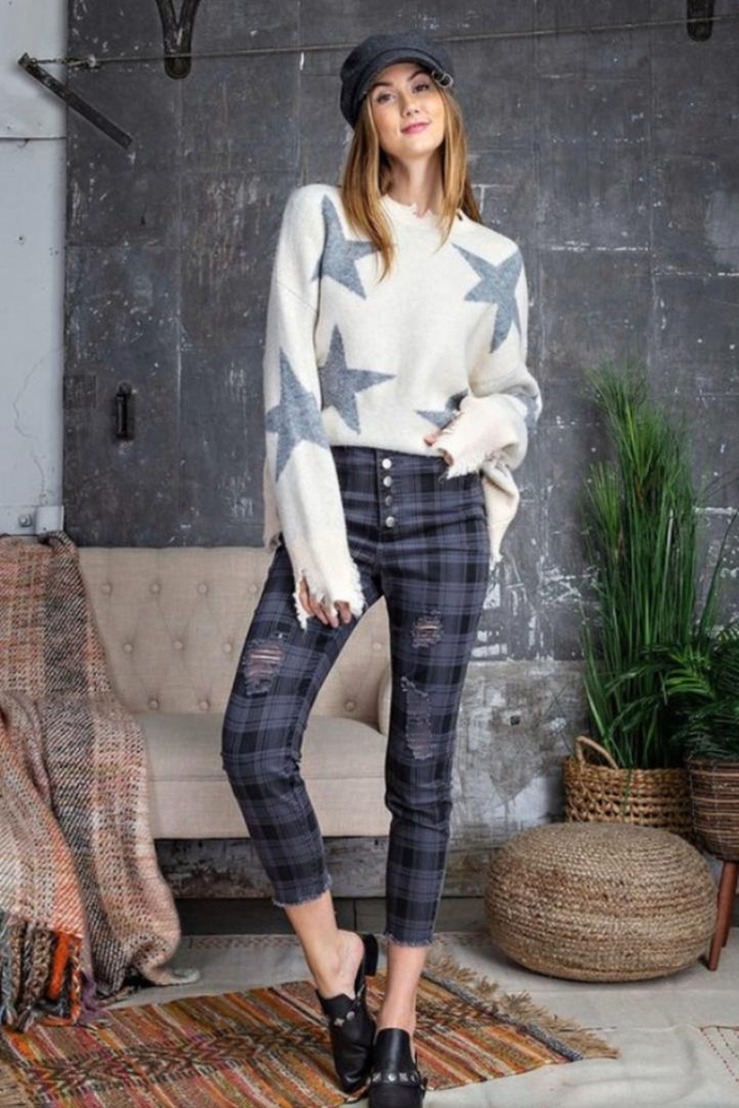 easel Navy Plaid Pants - Front Full Image