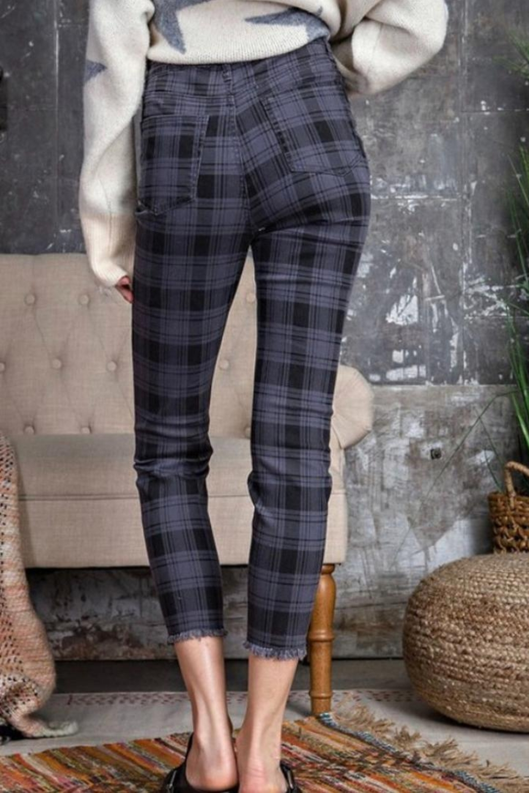 easel Navy Plaid Pants - Side Cropped Image