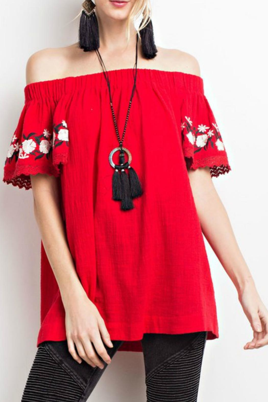 easel Off-Shoulder Embroidered Tunic - Main Image