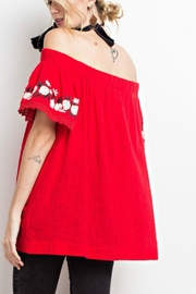 easel Off-Shoulder Embroidered Tunic - Side cropped