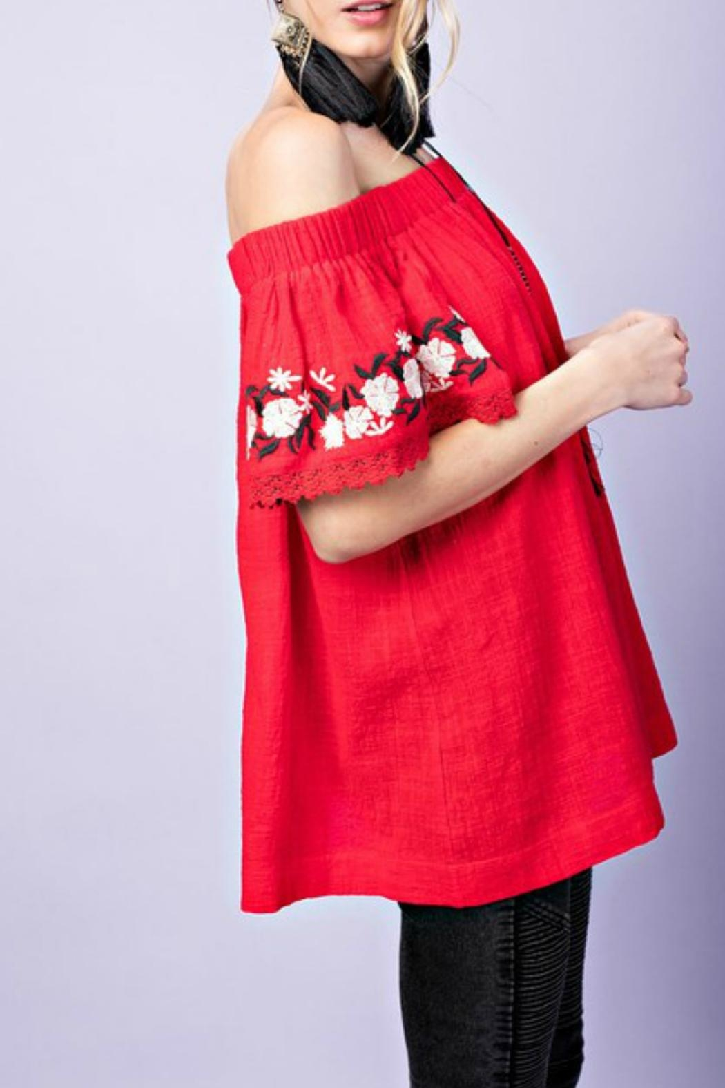 easel Off-Shoulder Embroidered Tunic - Front Full Image