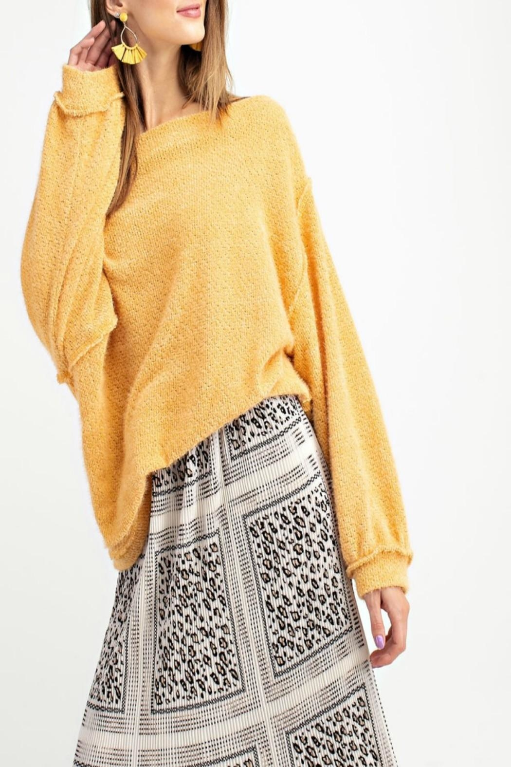easel Off-Shoulder Sweater Tunic - Side Cropped Image