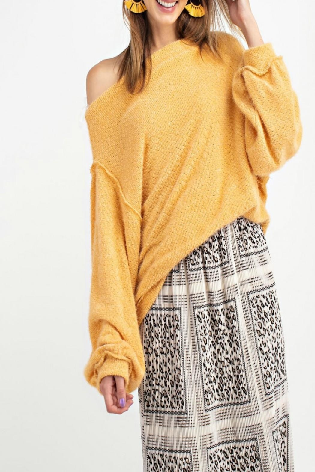 easel Off-Shoulder Sweater Tunic - Main Image