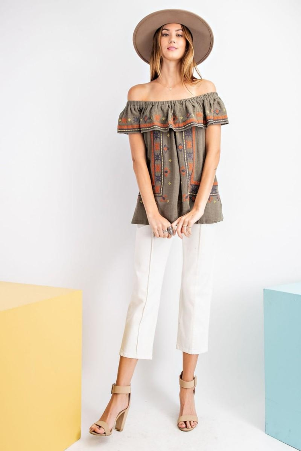 easel Off The Shoulder Boho Embroidered Ruffled Top - Side Cropped Image
