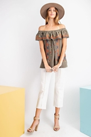 easel Off The Shoulder Boho Embroidered Ruffled Top - Side cropped