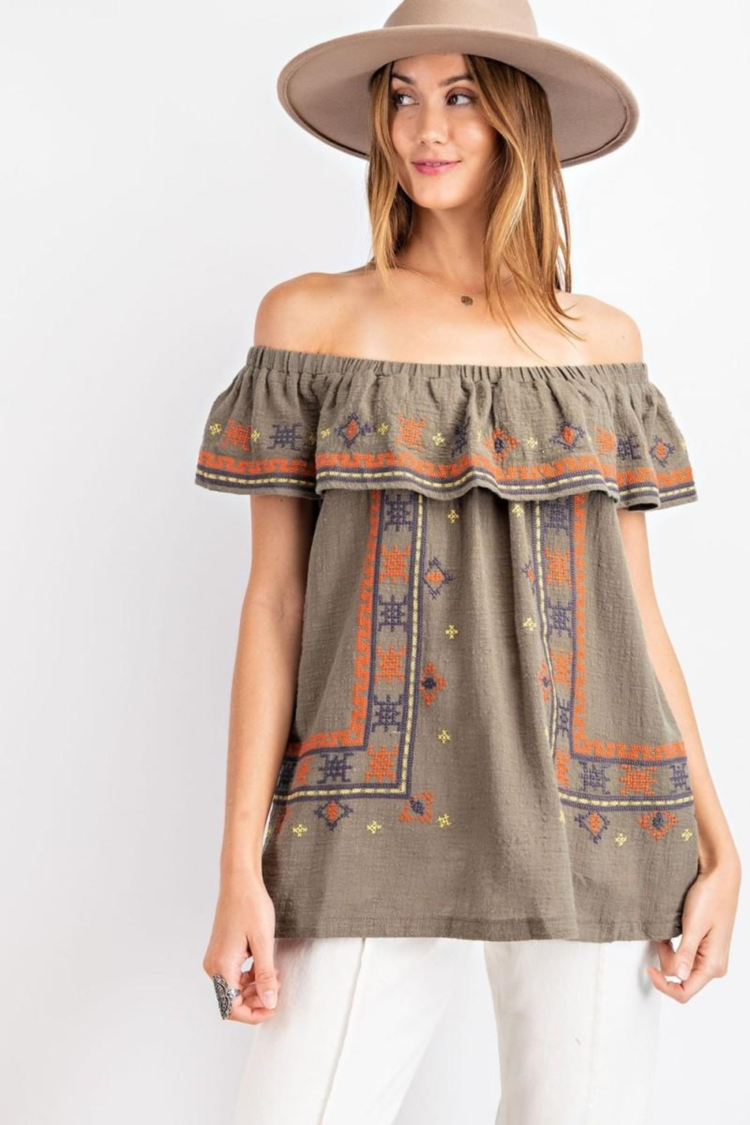 easel Off The Shoulder Boho Embroidered Ruffled Top - Main Image