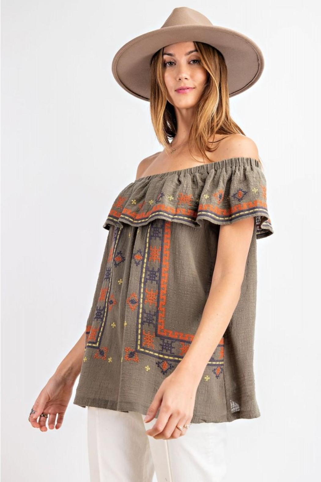 easel Off The Shoulder Boho Embroidered Ruffled Top - Front Full Image