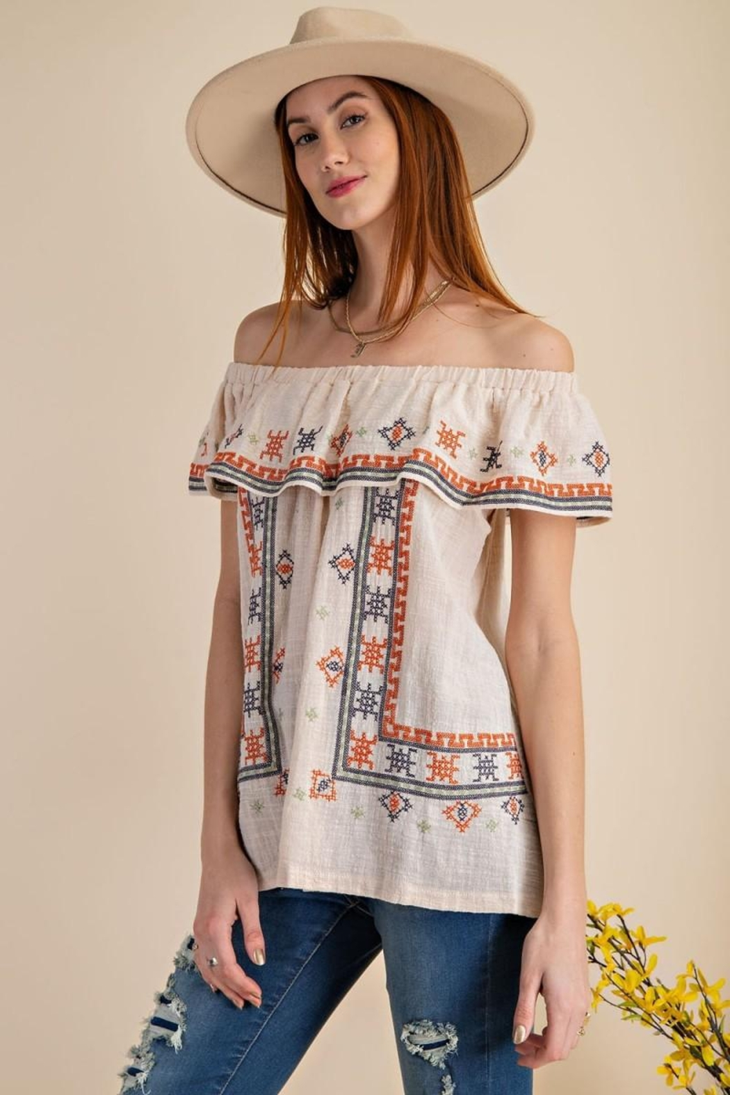 easel Off The Shoulder Boho Embroidered Ruffled Top - Front Cropped Image