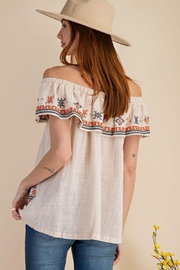 easel Off The Shoulder Boho Embroidered Ruffled Top - Other