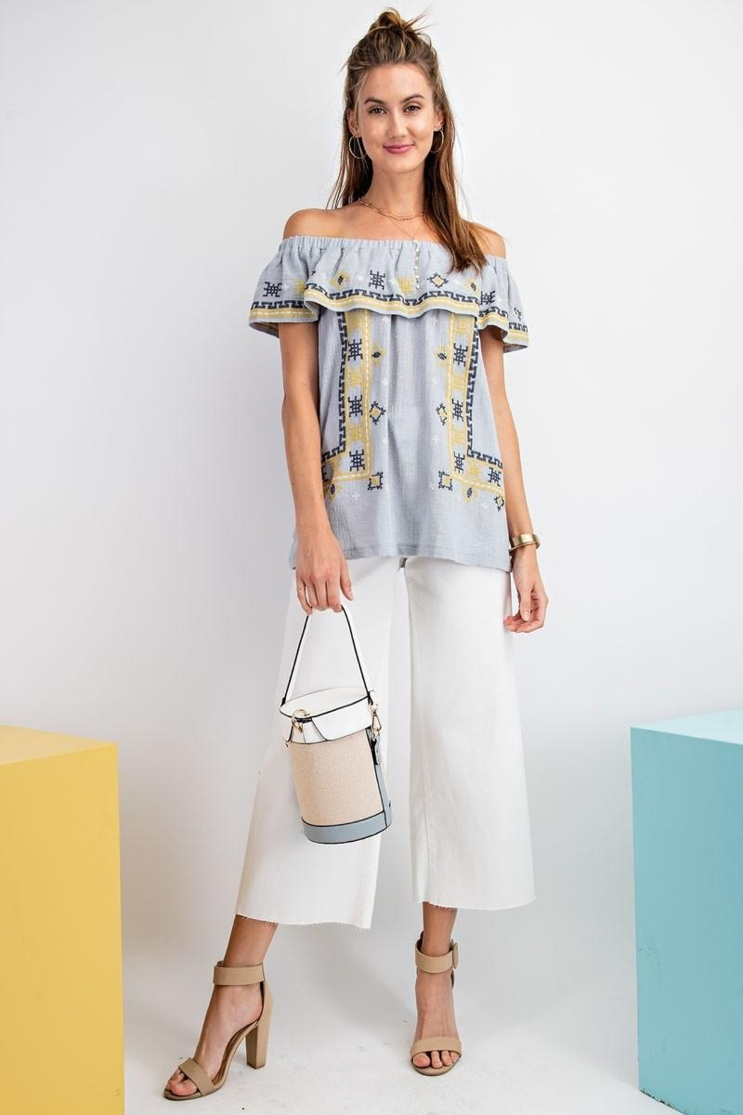 easel Off The Shoulder Boho Embroidered Ruffled Top - Back Cropped Image
