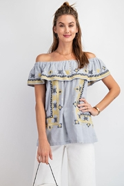 easel Off The Shoulder Boho Embroidered Ruffled Top - Front full body