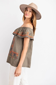 easel Off The Shoulder Boho Embroidered Ruffled Top - Back cropped