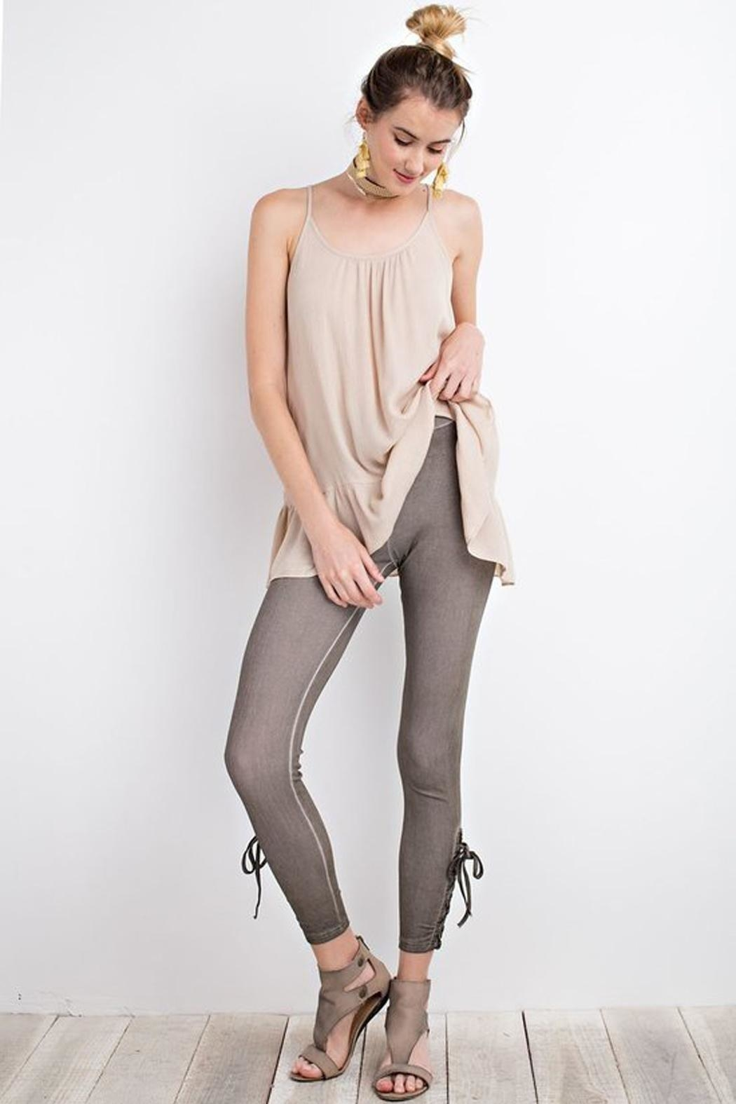 easel Olive Lace-Up Leggings - Main Image