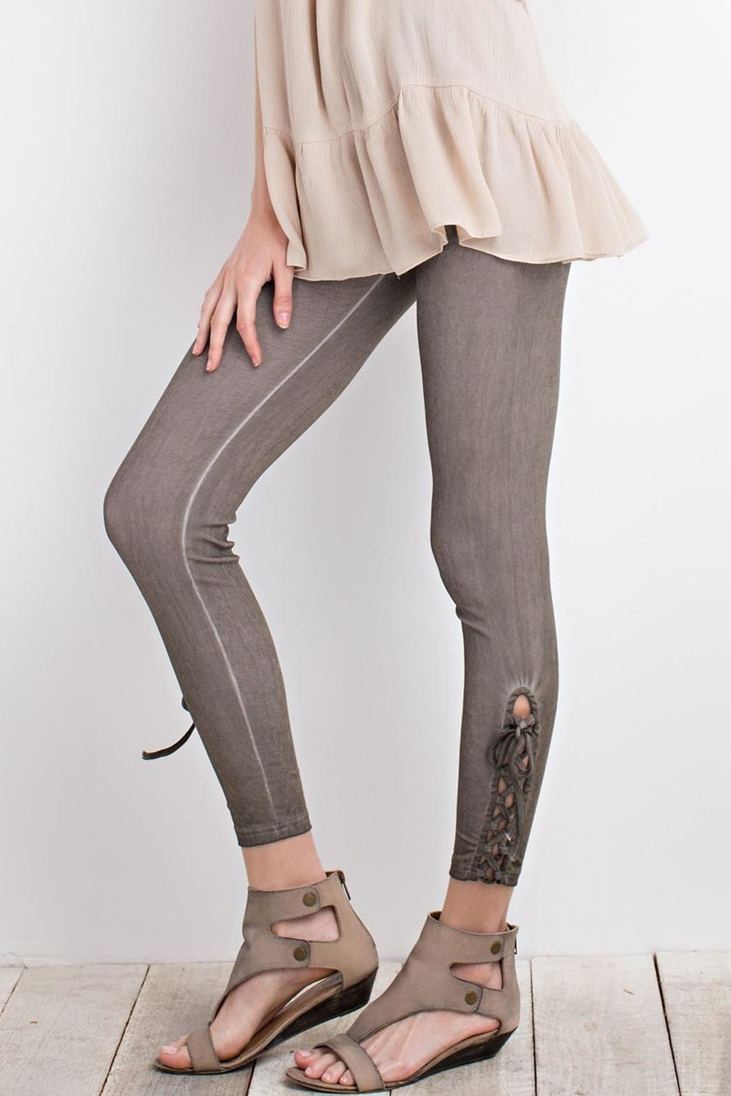 easel Olive Lace-Up Leggings - Side Cropped Image