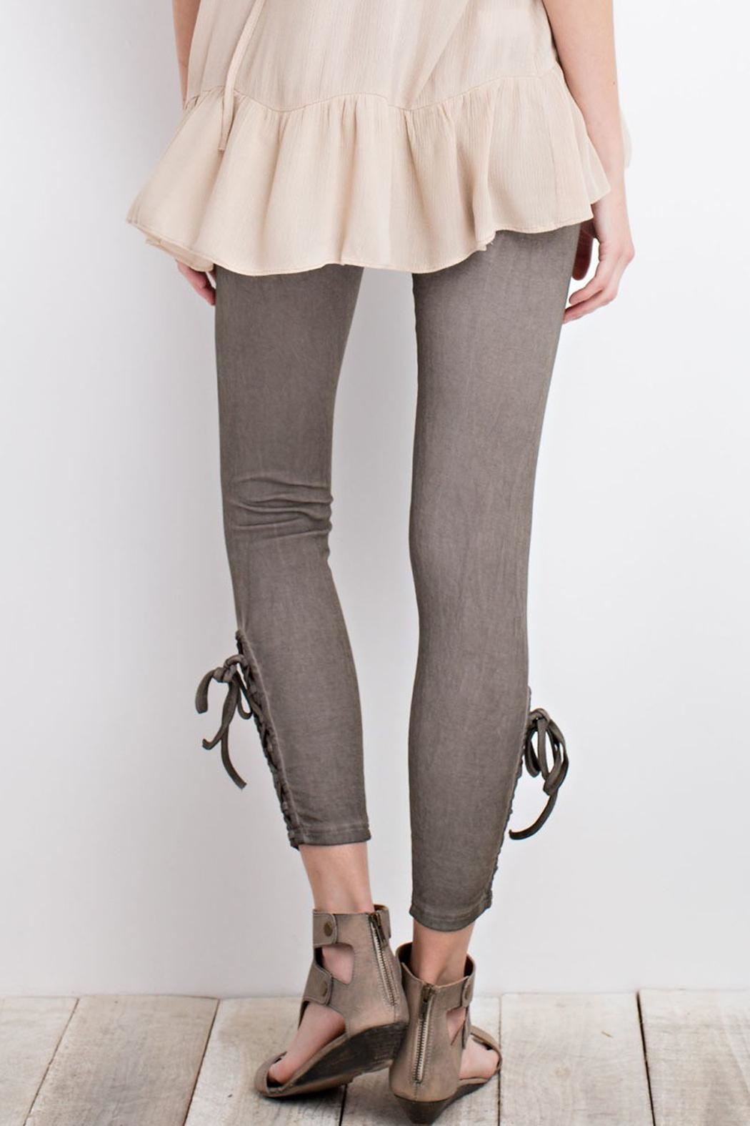 easel Olive Lace-Up Leggings - Front Full Image